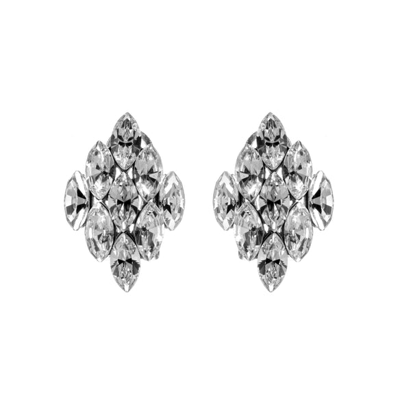 Sparkling Diamond Shaped Crystal Stud Earrings with French Back in Sterling Silver