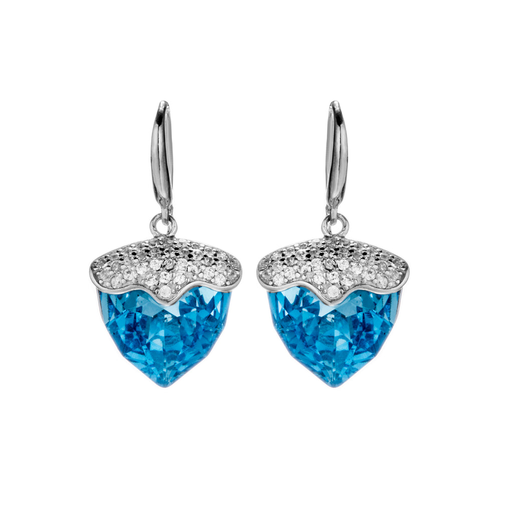 Unique Strawberry Drop Earrings with Aqua Blue Crystal in Sterling Silver