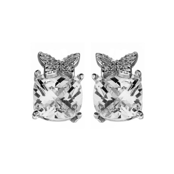 Butterfly Cushion Cut Stud Earrings with Clear Crystal in Sterling Silver