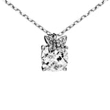 Cushion Cut Crystal Necklace with Butterfly in Sterling Silver