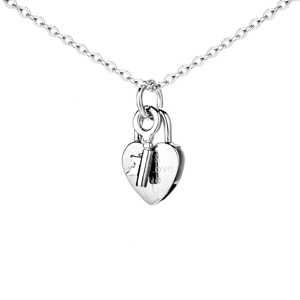 Key to Your Love Heart Plain Necklace in Sterling Silver