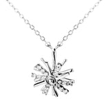 Spining Double Snowflake Pendant Necklace in Sterling Silver