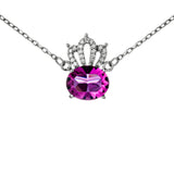 Supreme Crown Hollow Out Necklace with Pink Crystal in Sterling Silver