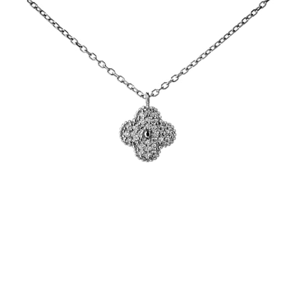 Four Petals Flower Clover Necklace with Sparkle Crystal in Sterling Silver