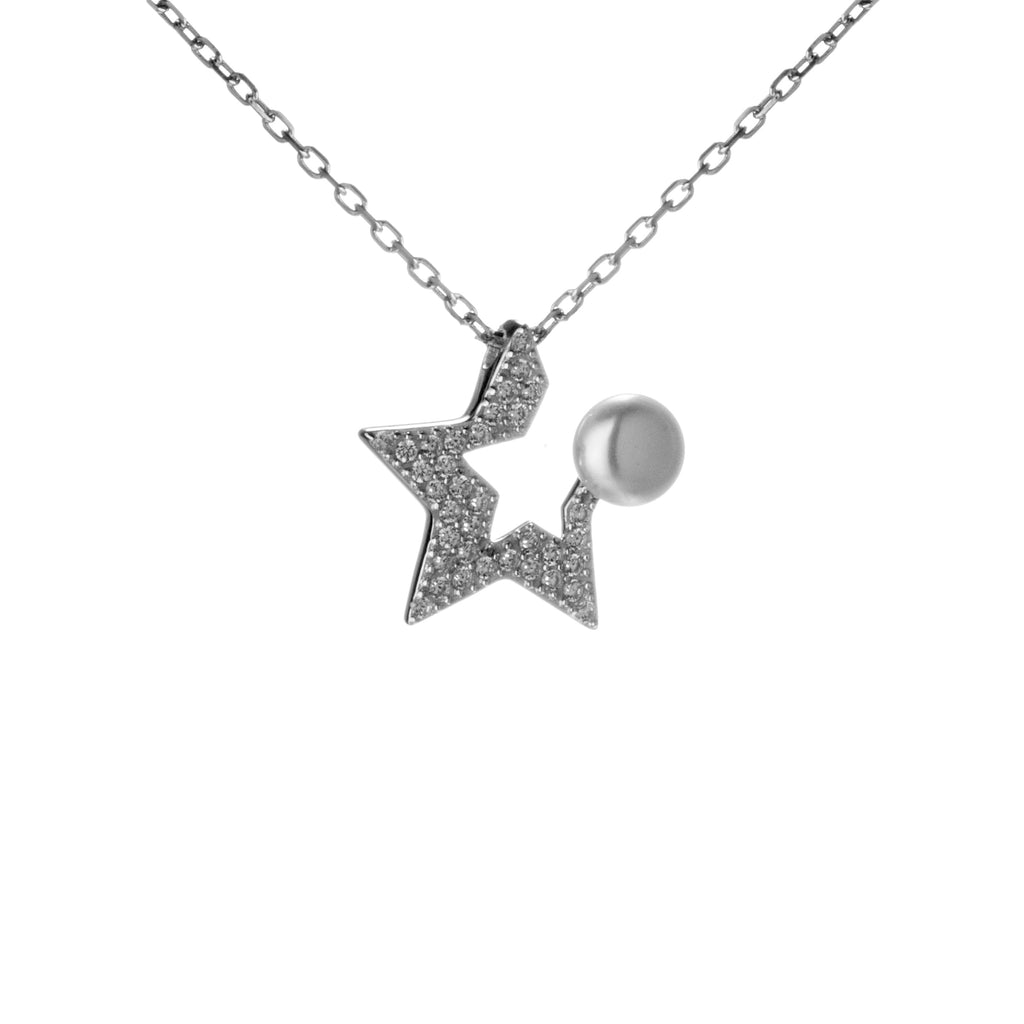 Open Crystal Star Necklace with Fresh Water Pearl in Sterling Silver