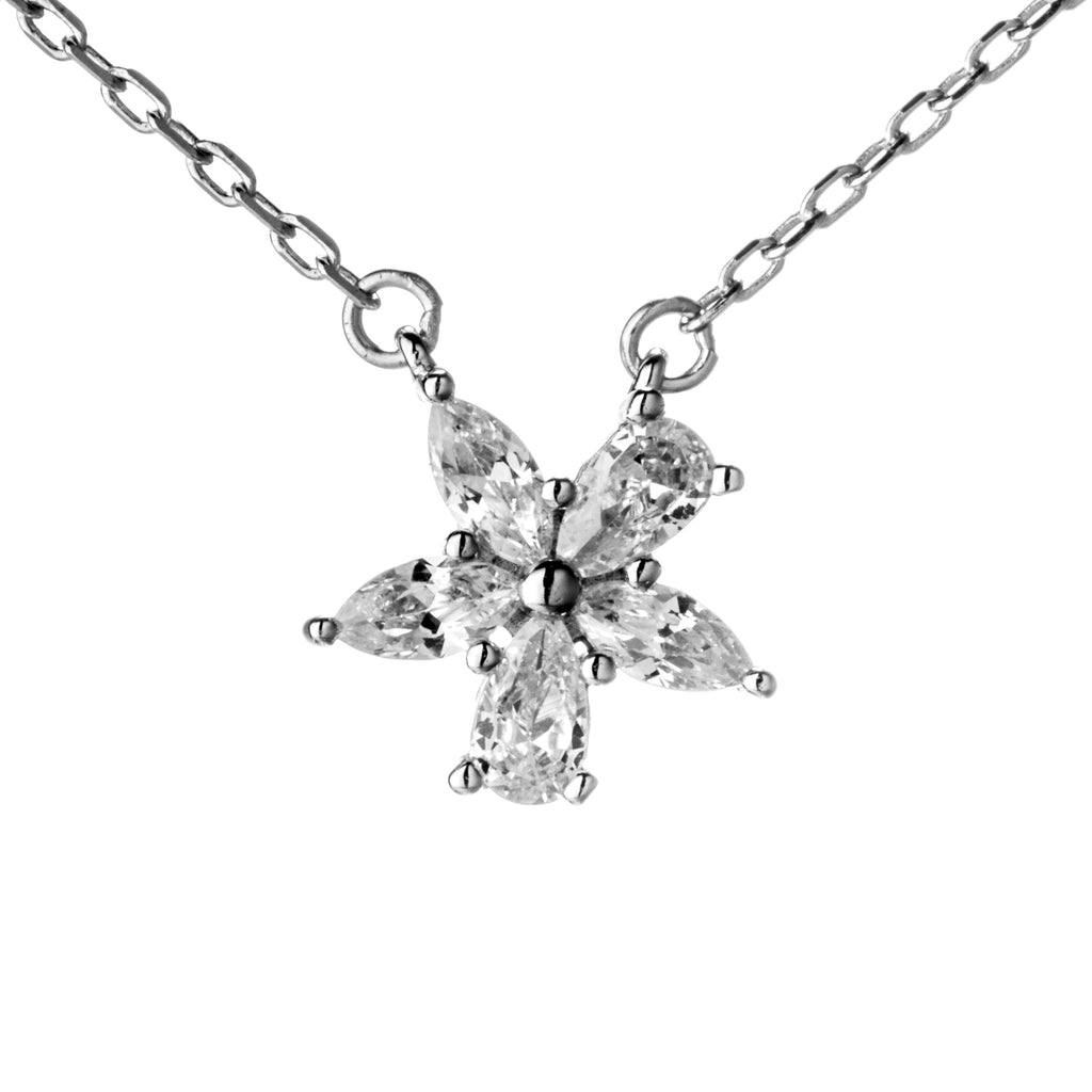 Sparky Flower with Clear Crystal Necklace in Sterling Silver