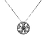 Sparky Delicate Flower Round Pendant Necklace in Sterling Silver