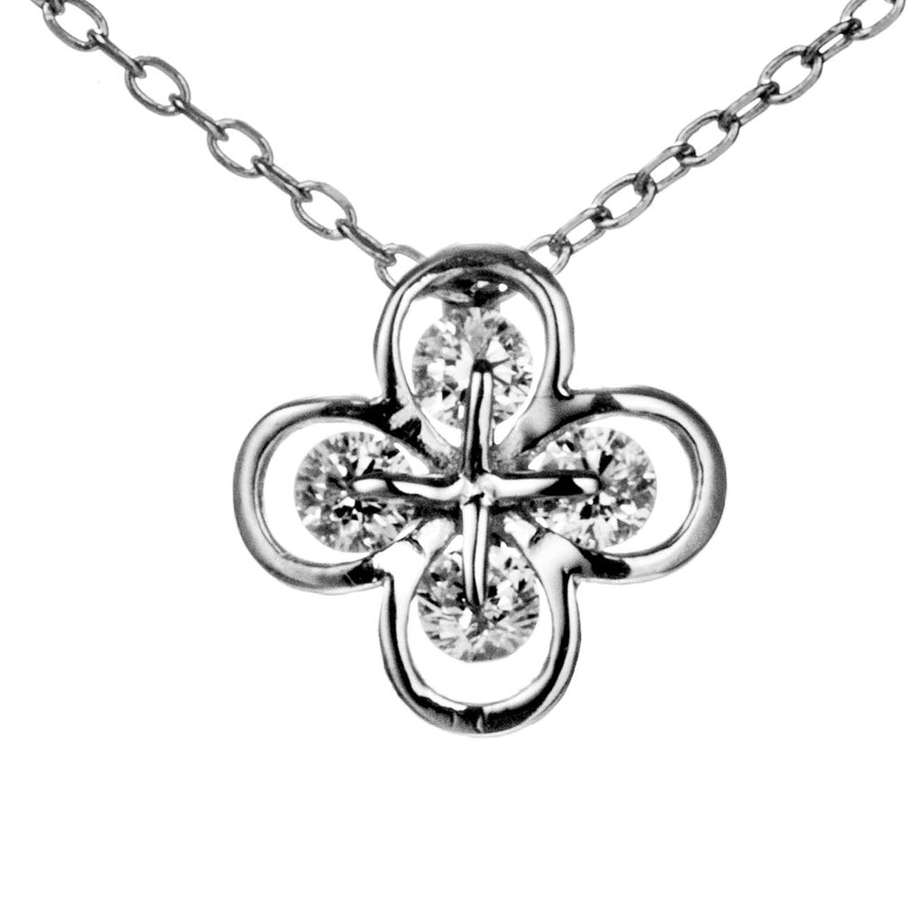 Clear Lucky Clover Crystal Necklace in Sterling Silve