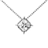 Sparkling Square Clear Crystal Necklace in Sterling Silver