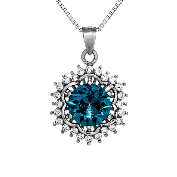 Blue Snow Flake Flower Pendant Necklace in Sterling Silver