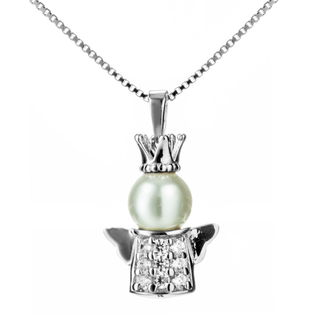 Angel with Pearl Crown Necklace with Clear Crystal in Sterling Silver