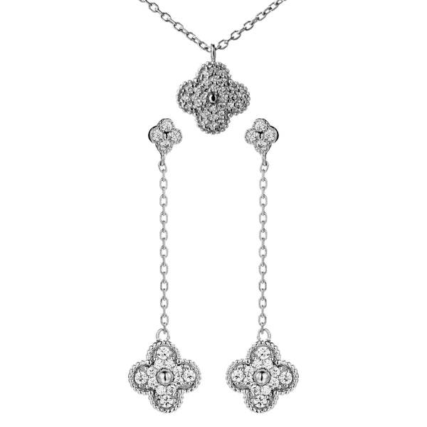 Four Petals Flower Clover Necklace & Earrings Set with Sparkle Crystal In Sterling Silver