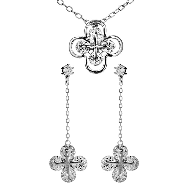 Clover Flower Necklace & Earrings with Clear Crystal In Sterling Silve