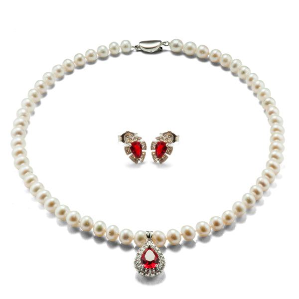Pear Cut Ruby Red Corundum & Freshwater Pearl Necklace & Stud Set