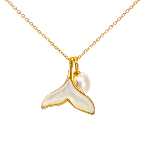 18K Gold Mermaid Tail Pendant Necklace with Akoya Sea Water Pearl