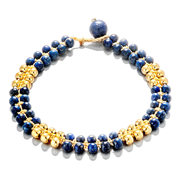 18K Gold Plated Lapis Stone Purplish Blue Bracelet