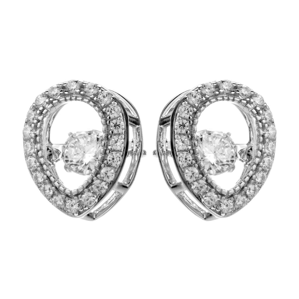 Tear Drop Dancing Stone Stud Earrings with Clear Crystals in Sterling Silver