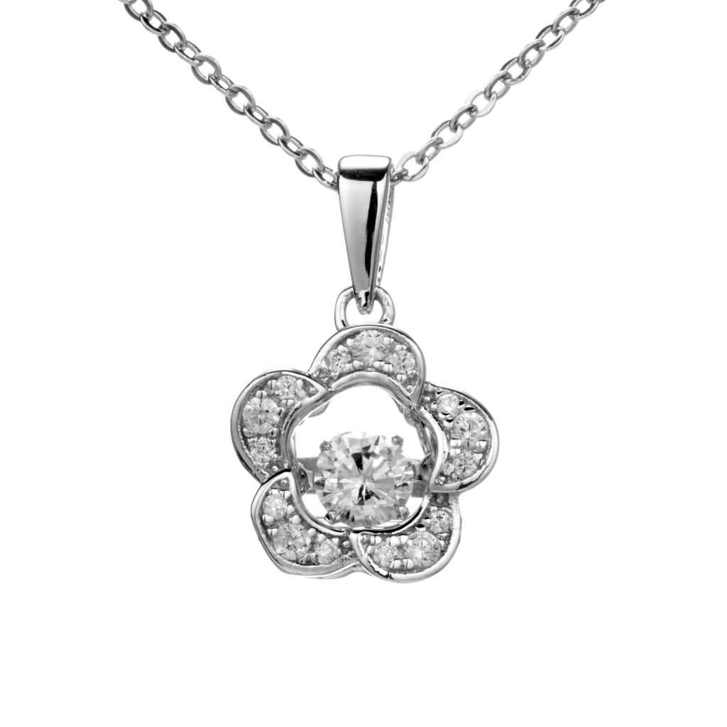Flower with Floating Pistil Pendant Necklace in Sterling Silver