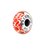 Red Murano Glass Bead Charms with White Patterns in Sterling Silver