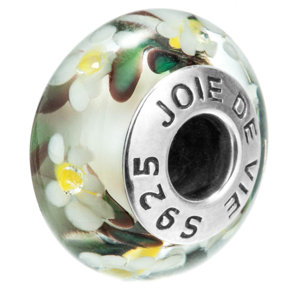 Flowers Petals Clear Classic Murano Glass Beads in Sterling Silver