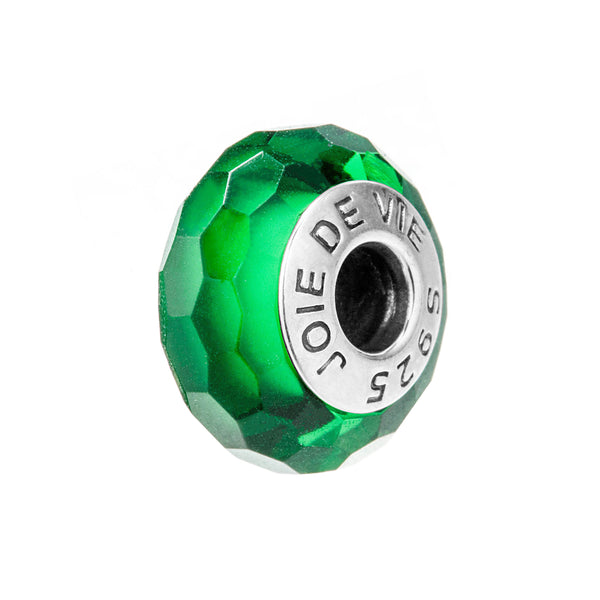 Green Murano Glass Beads Charms In Sterling Silver