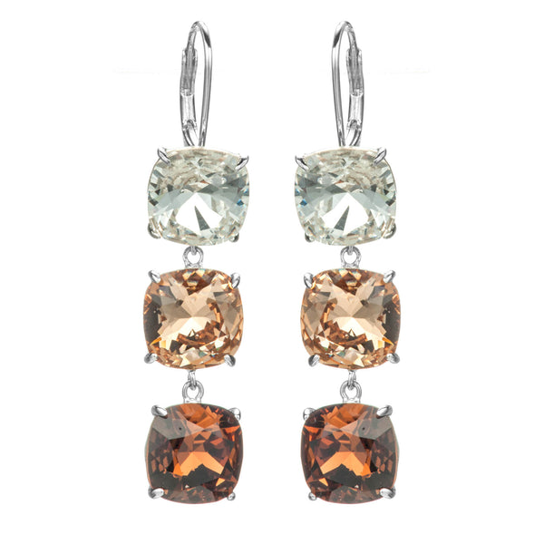 Triple Square Champagne Crystal Colour Gradient Drop Earrings with Lever Back in Sterling Silver