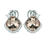 Square Cushion Cut Champagne Crystal Stud Earrings with Clip Back in Sterling Silver