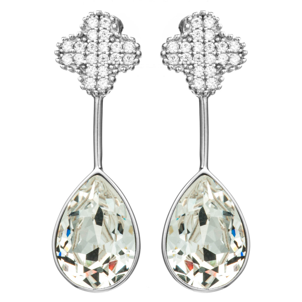 Clover Crystal Drop Earrings in Sterling Silver