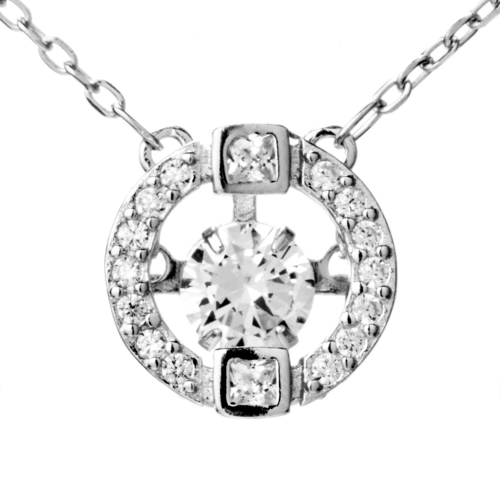 Delicate Round Hollow Out Crystal Necklace in Sterling Silver