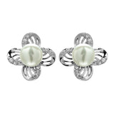Windmill Crystal Stud Earrings with Fresh Water Pearl in Sterling Silver