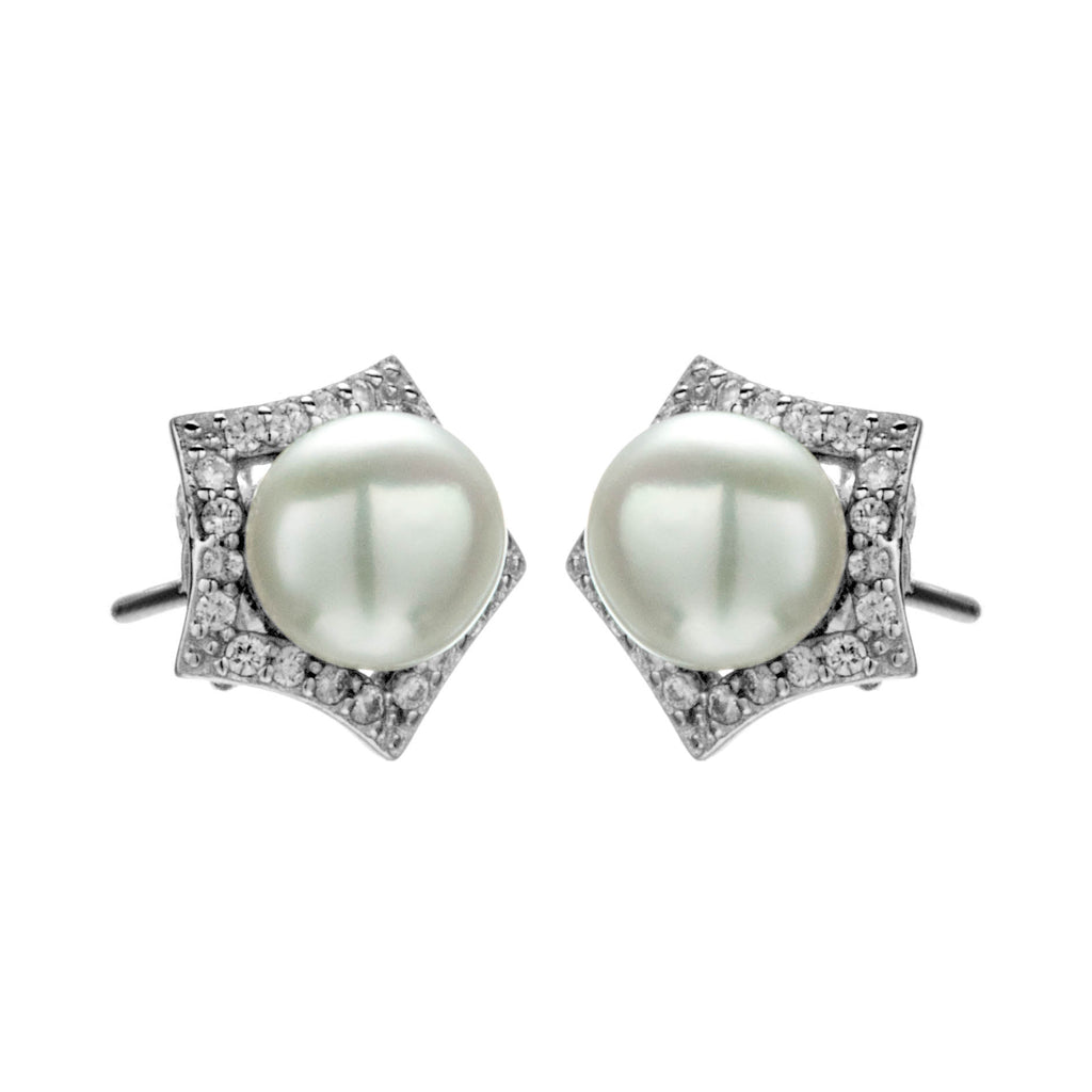 Pentagon Shaped Crystal Stud Earrings with Fresh Water Pearl in Sterling Silver