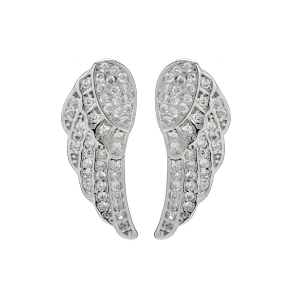 Elegant Angel Wings Crystal Stud Earrings in Sterling Silver