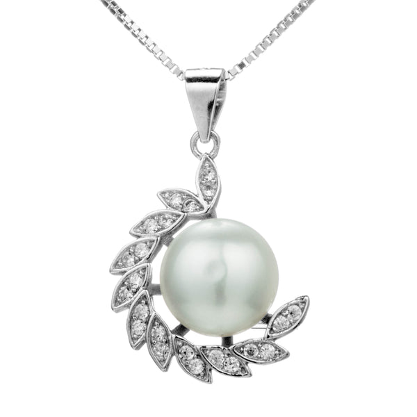Olive Vine Pendant Necklace with Fresh Water Pearl in Sterling Silver