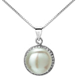Classical Big Fresh Water Pearl Necklace with Clear Crystal in Sterling Silver