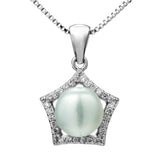 Pentagon Star Pendant Necklace with Fresh Water Pearl & Clear Crystal in Sterling Silver
