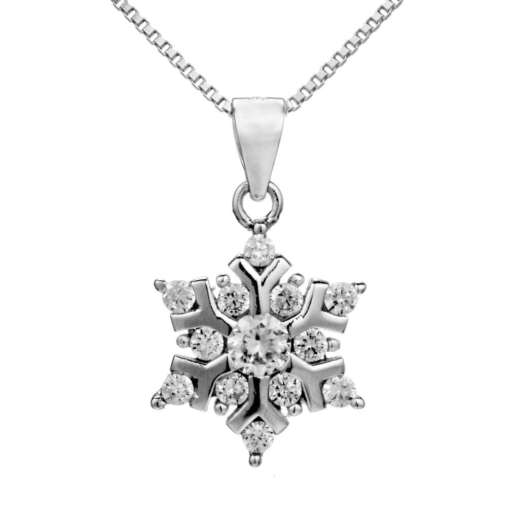 Snowflake Crystal Pendant Necklace in Sterling Silver