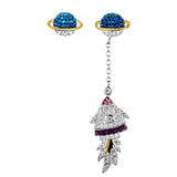 Universe Fantasy Space Rocket Drop Earrings with Multicolored Crystals in Sterling Silver