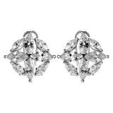 Flower Clear Crystal Stud Earrings with French Back in Sterling Silver