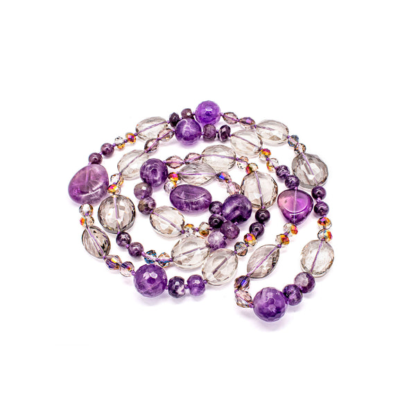 February Birthstone Amethyst & Crystal  Long Necklace  Natural Stone