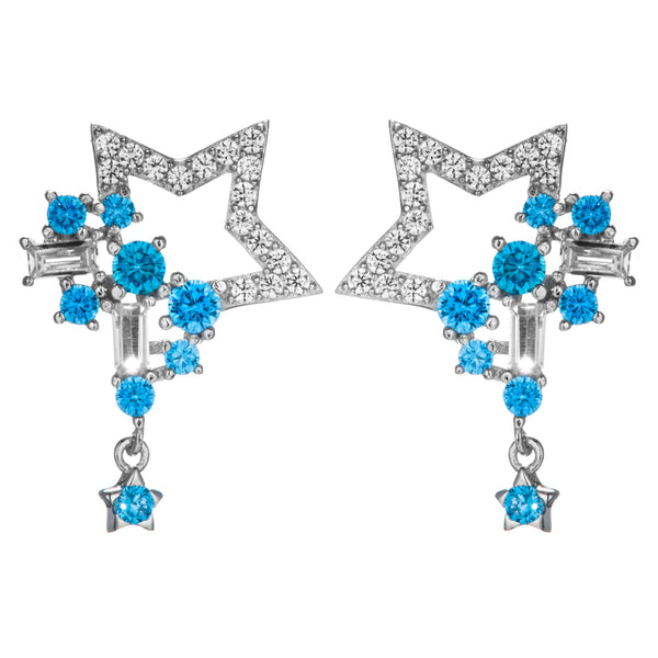 Shooting Star Drop Earrings with Aqua Blue Crystals in Sterling Silver