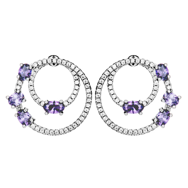 Floating Angelic Circles Stud Earrings with Amethyst Purple Crystals in Sterling Silver