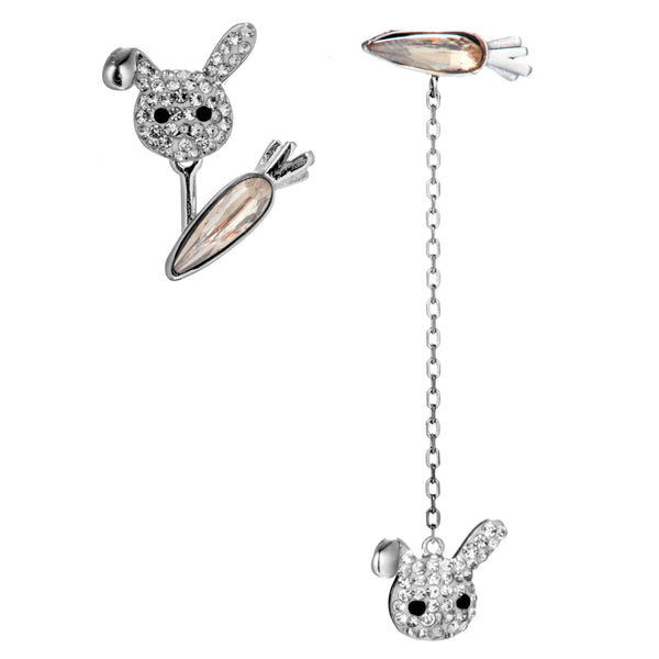 Cute Bunny Rabbit & Carrot Drop Earrings with Champagne Crystal in Sterling Silver