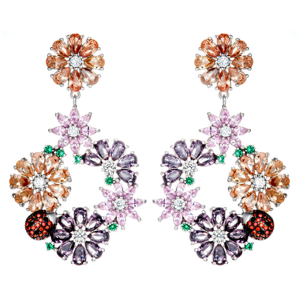 Flower Garden Ladybug Drop Earrings with Orange Pink Purple Crystals in Sterling Silver