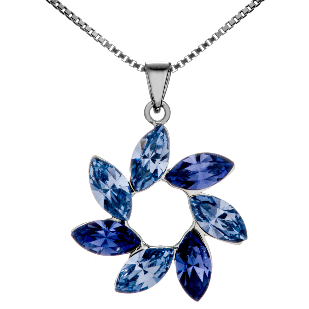 Lively Flowing Flower Petals Purple Pendant Necklace in Sterling Silver