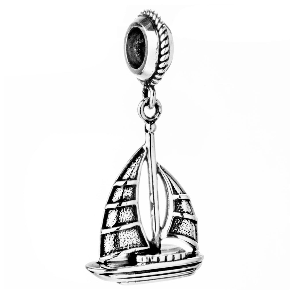 Sailboat Sea Life Vintage Hanging Charm in Sterling Silver