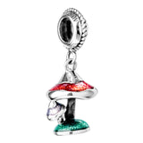 Cute Colorful Mushroom Hanging Charm in Sterling Silver