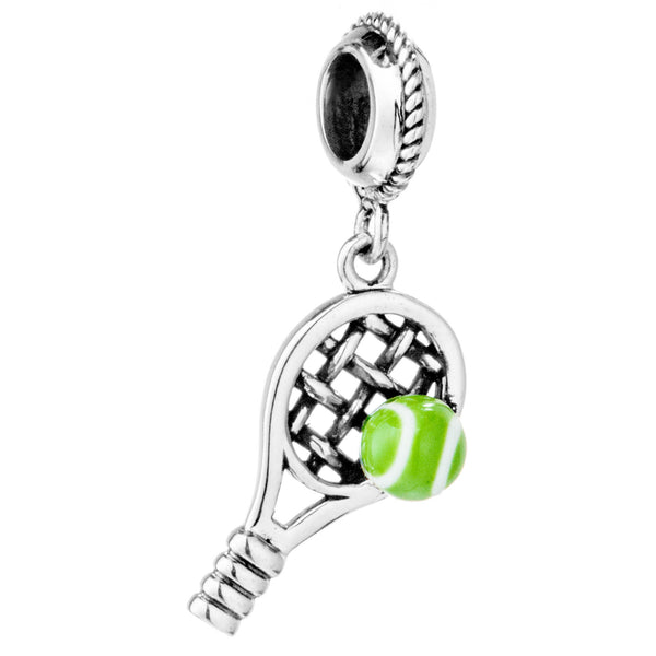 Tennis Bat Sport Hanging Charm in Sterling Silver