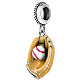 Unique Yellow Baseball Glove Hanging Charm in Sterling Silver