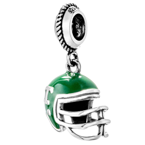 NFL Gridiron Helmet Unique Green Hanging Charm in Sterling Silver