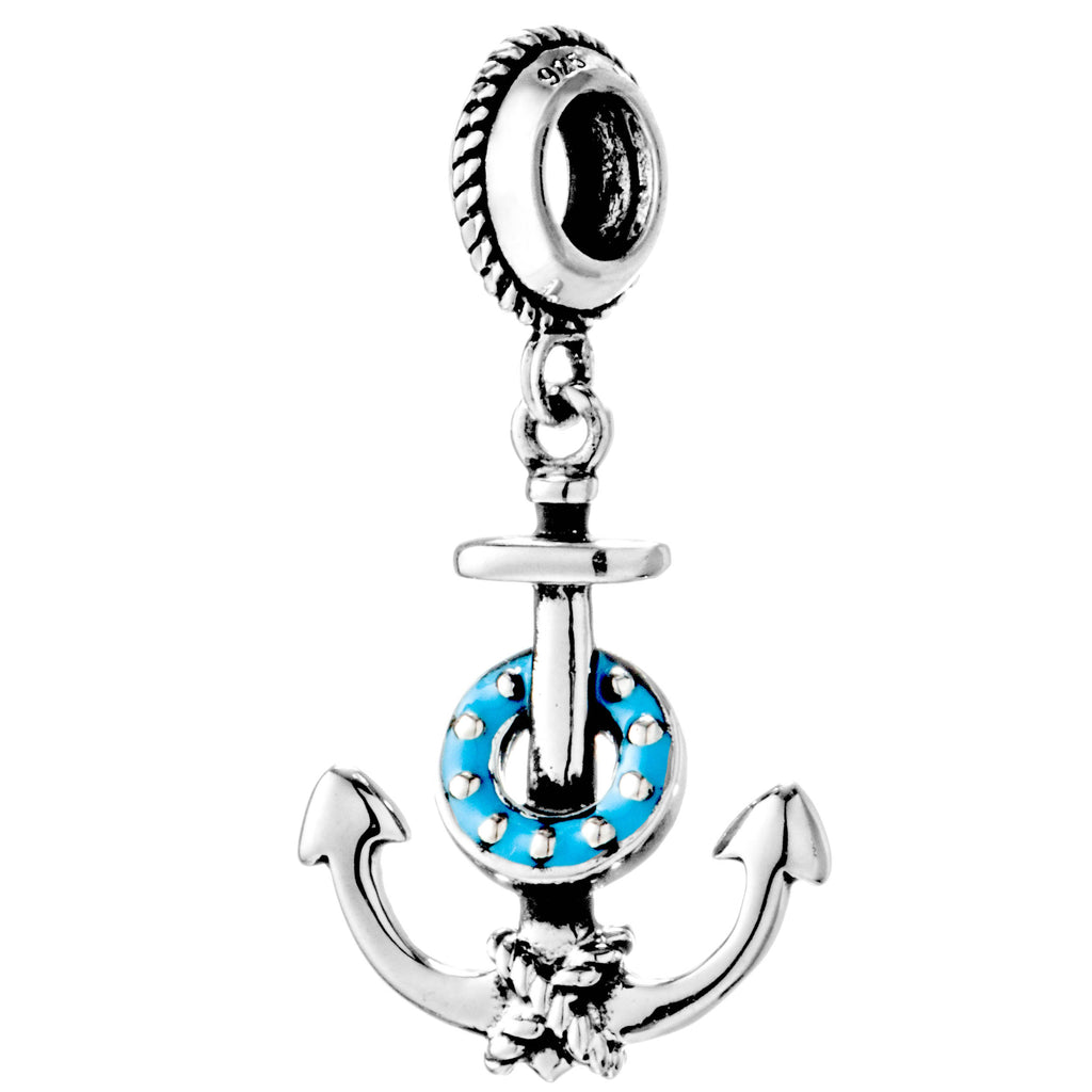 Anchor with Rope Shining Hanging Charm in Sterling Silver